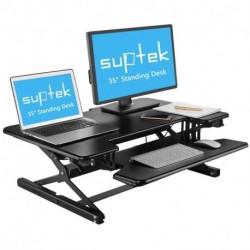 """Suptek 35"""" Wide Platform Height Adjustable Standing Desk Riser with Removable Keyboard Tray Black"""