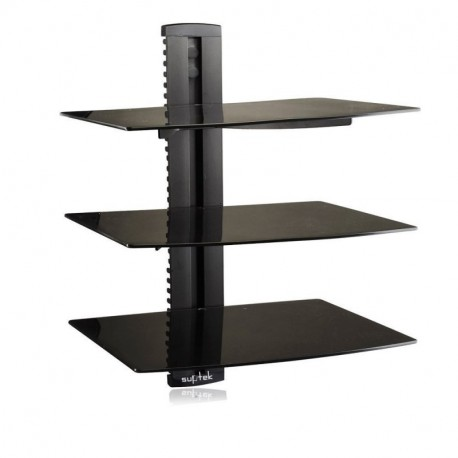 Suptek Black 3 Floating Shelf with Strengthened Tempered Glass for DVD Players/Cable Boxes/Games Consoles/TV Accessories 3 Shelf, Black CS203