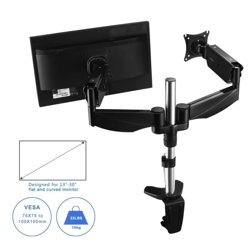 Suptek Dual Monitor Arm Stand With Gas Spring Amp Clamp Fits