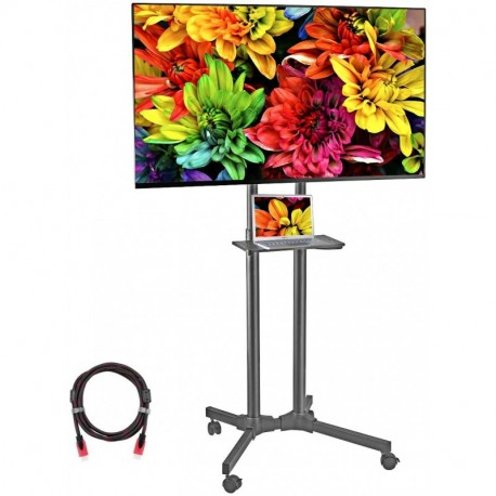 Suptek Mobile TV Cart Rolling TV Stand Mount with Wheels and Shelf for 32-70 inch LCD, LED, Plasma, Flat Screen (ML5074-3)
